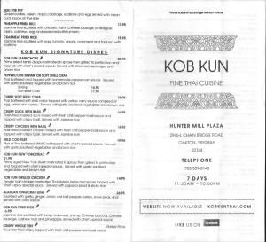 Kob Kun menu 3