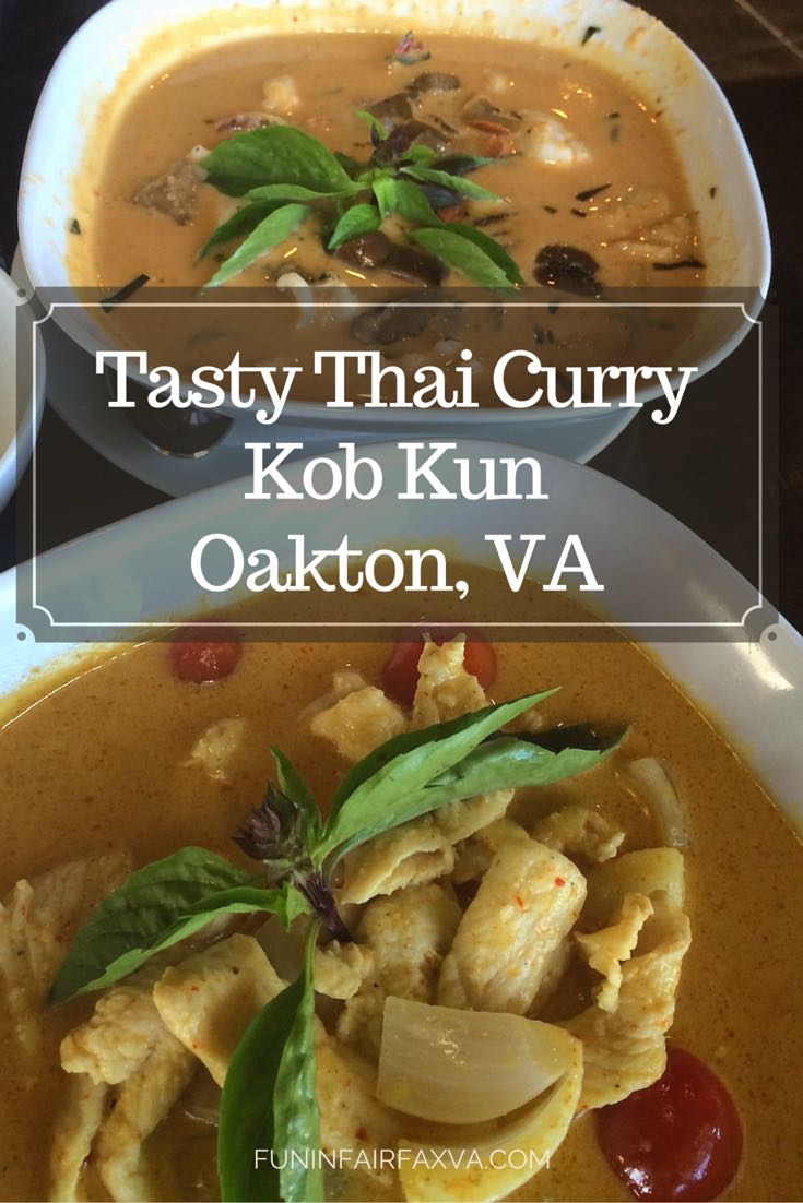 Kob Kun, a Thai restaurant at the corner of Hunter Mill and Chain Bridge in Oakton, Virginia has a lovely atmosphere and very tasty curry.