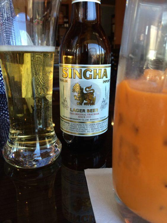 Singha and Thai Iced Tea at Kob Kun