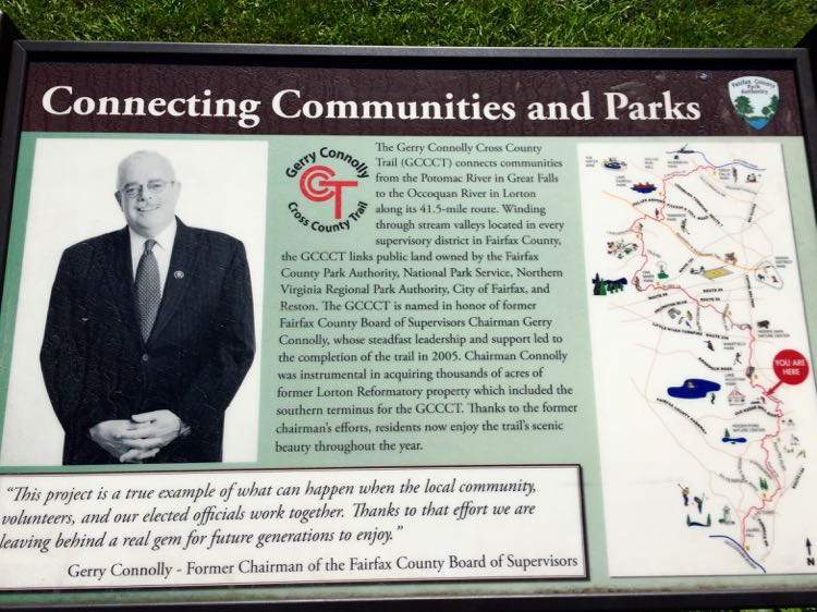 Gerry Connolly Cross County Trail sign, Virginia