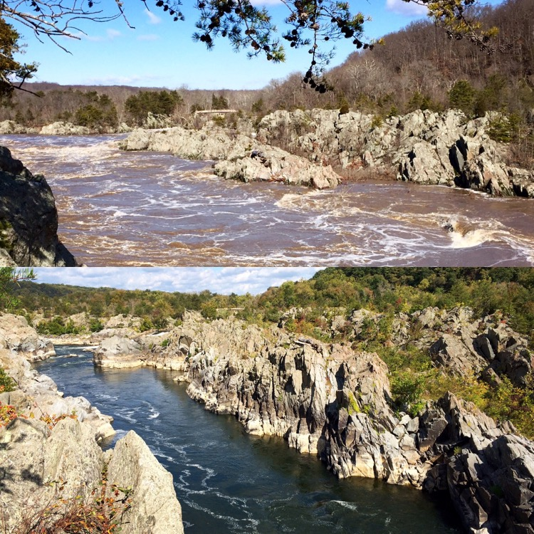 Mather Gorge Great Falls Virginia comparing seasonal water levels