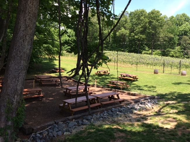 Outside seating at Paradise Springs Winery in Clifton VA