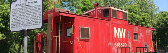 Red caboose in Clifton VA