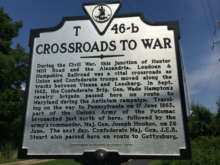 Crossroads to War historical marker on the W&OD