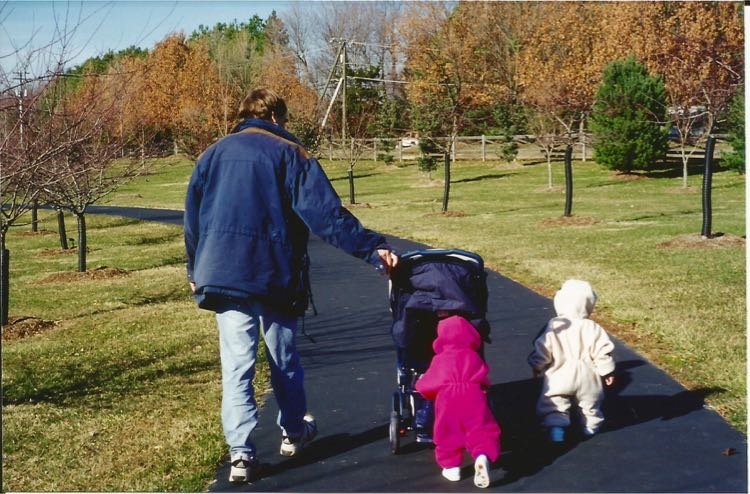Toddlers practice walking at Meadowlark Gardens Virginia