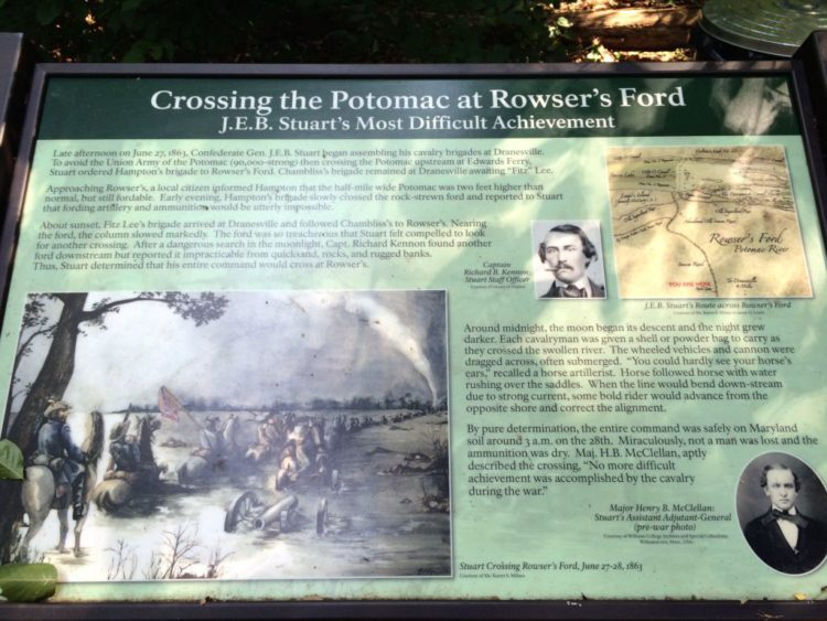 Rowsers Ford sign at Seneca Park in Great Falls VA