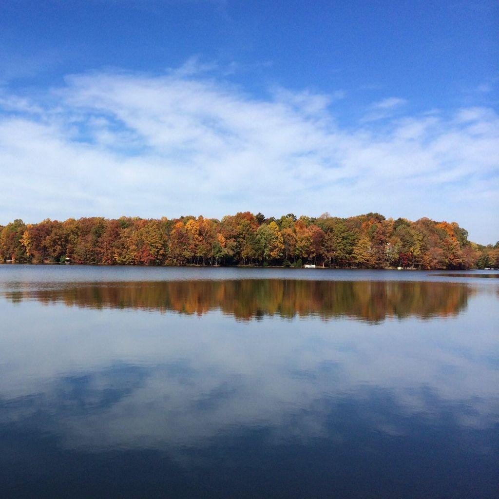 Fall foliage reflections in Lake Thoreau, Reston Virginia