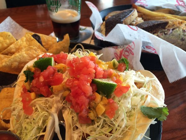 Fish tacos are 2 for $5.99 on Taco Tuesday at Glory Days Grill