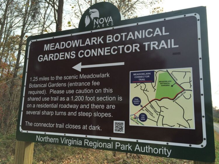 Meadowlark Connector Trail sign on the W and OD bike trail