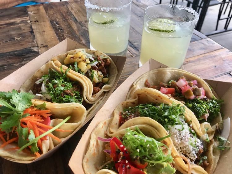 Margaritas and tacos on the patio at Taco Bamba Vienna Virginia