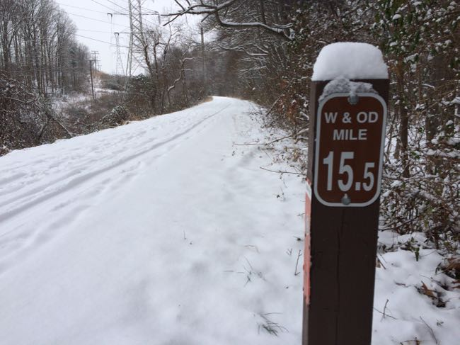Snow on the Washington & Old Dominion bike trail