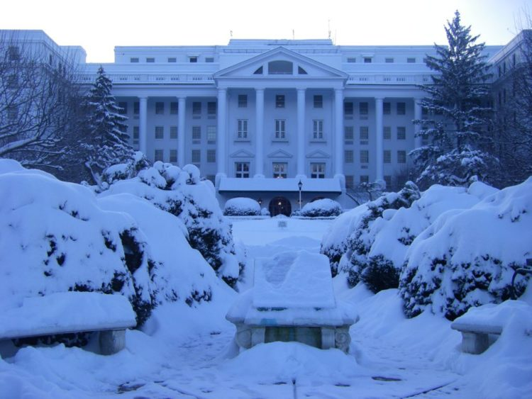 The Greenbrier on a snowy day in West Virginia