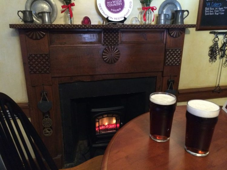 Pints by the fireplace at Hunters Head Tavern