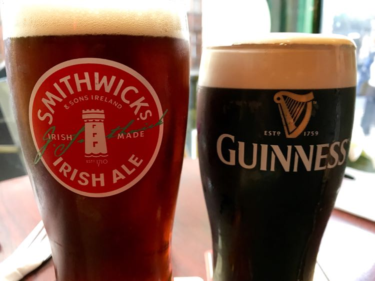 2 pints of Irish beer for St. Patrick's Day
