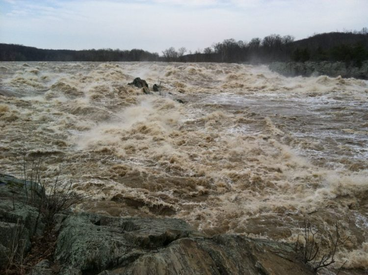 High water at Great Falls Park Virginia in March 2011