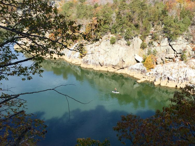 Paddleboarding below Cow Hoof Rock Great Falls Park VA