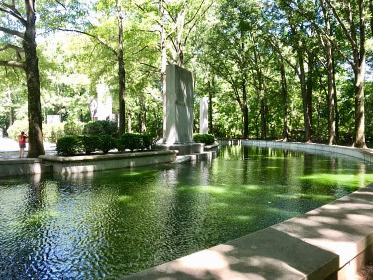 Water features create a pretty space to walk at the plaza on Theodore Roosevelt Island