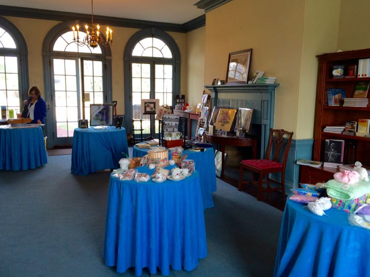 The gift shop is open during the Woodlawn Needlework Exhibition