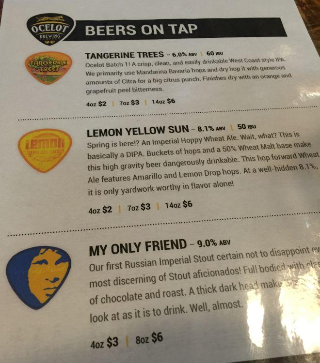 Ocelot Brewing beer list