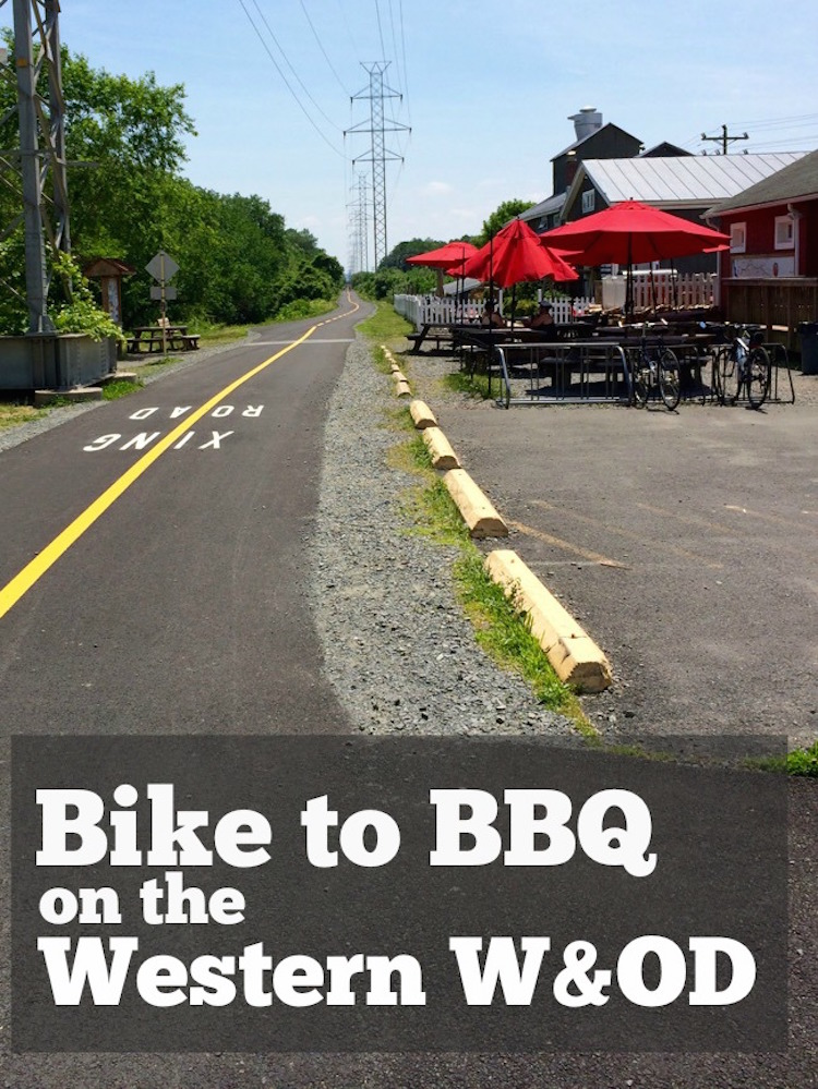 Here are 4 bike to BBQ options, west of Hunter Mill Road, that are easily accessed from the W&OD bike trail, Northern Virginia's narrowest regional park.