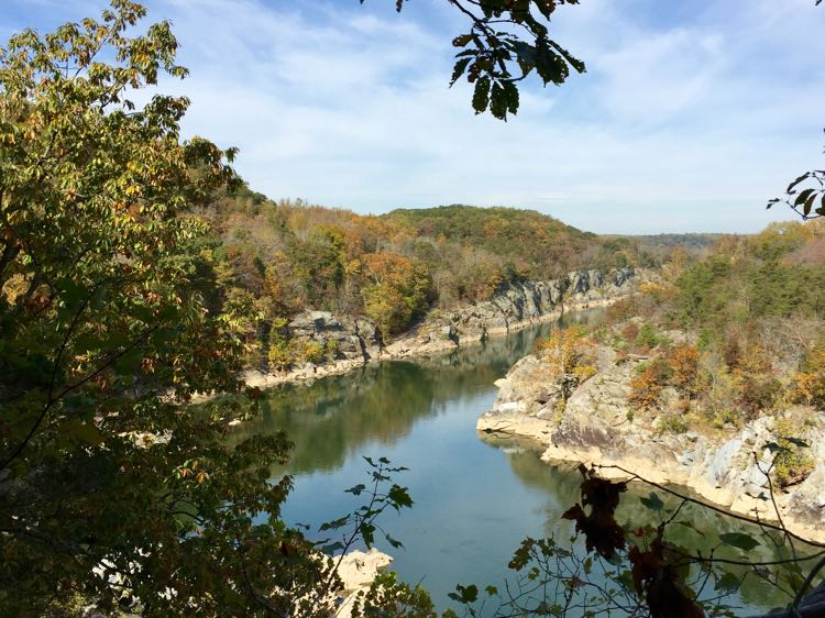 Fall view Mather Gorge from River Trail Great Falls