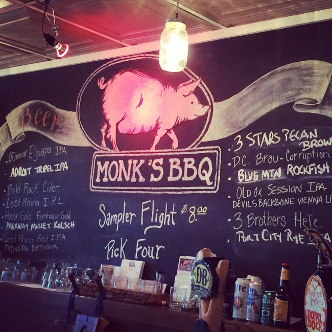 Monks BBQ sign