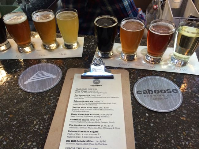 Flights at Caboose Brewing