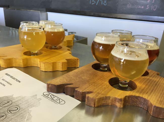 Beer flights at Aslin Beer Co in Herndon