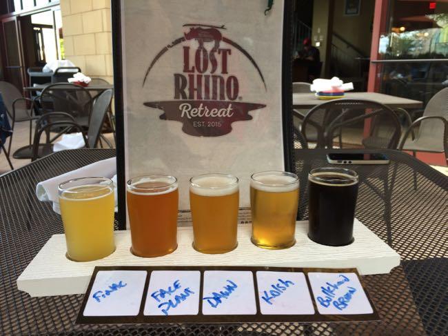 Beer flight at Lost Rhino Retreat, Ashburn VA