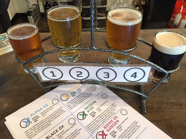 Beer flight at Old Ox Brewery, Ashburn VA