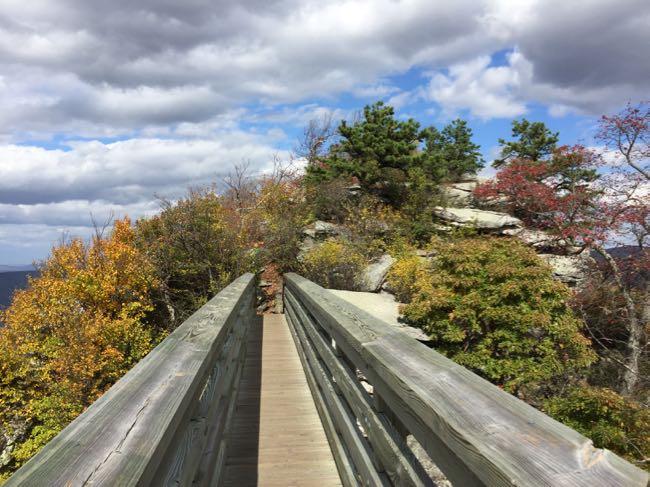 Crossing the bridge to the summit