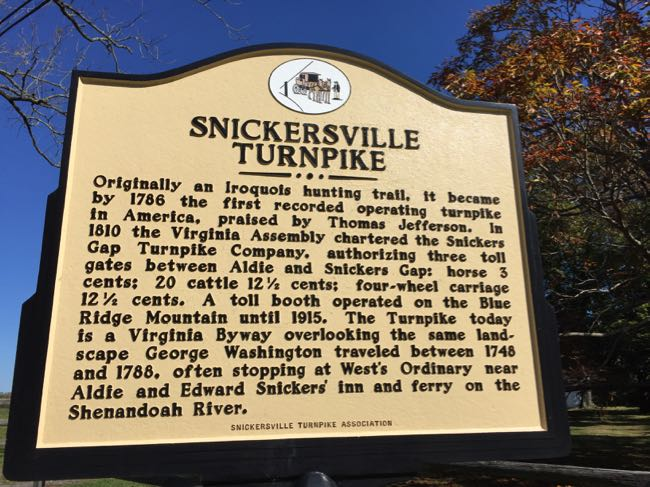 Snickersville Turnpike sign
