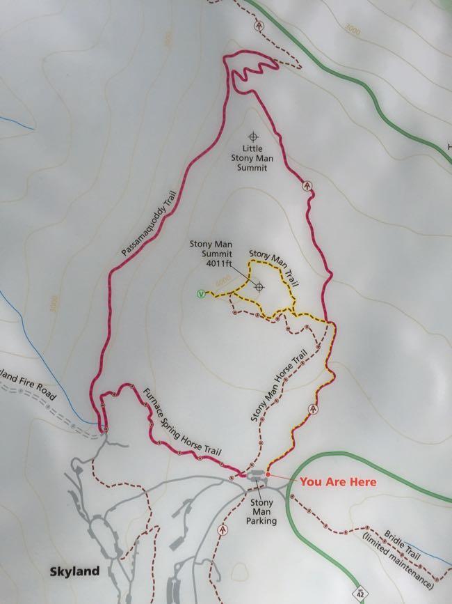 Stony Man trail map Shenandoah