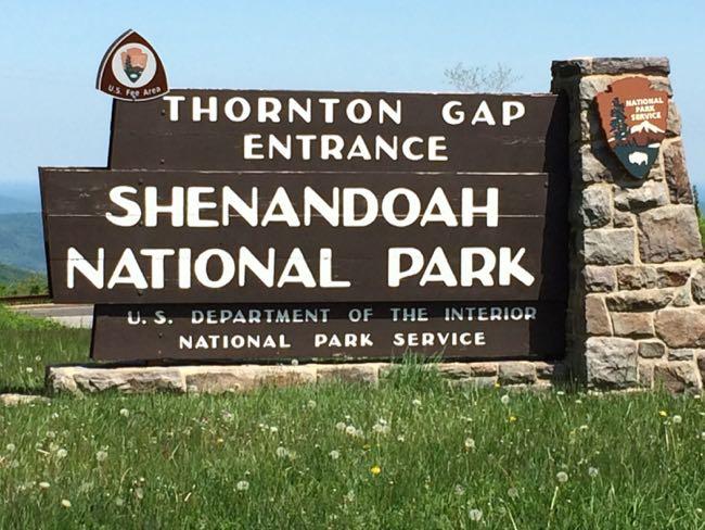 Thornton Gap Entrance sign Shenandoah