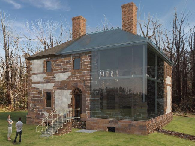Menokin Glass House rendering, Northern Neck Virginia