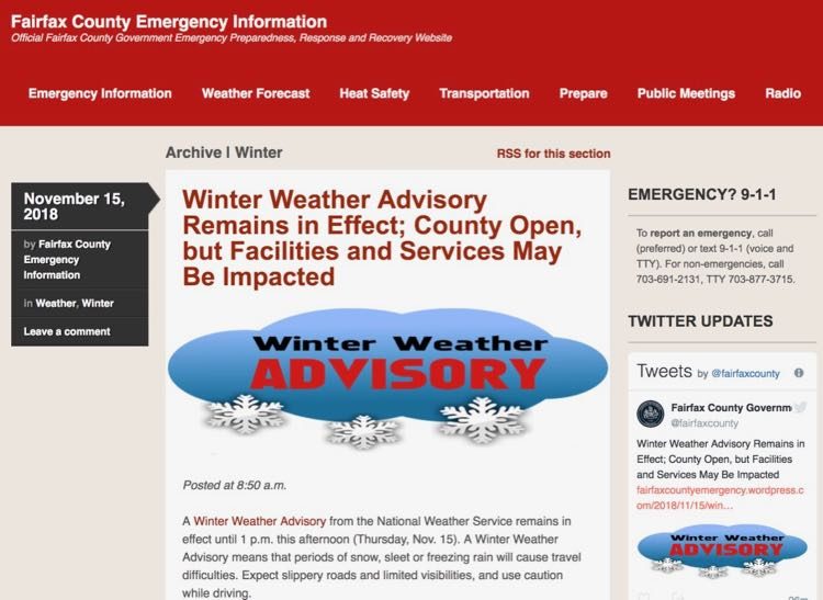Use the Fairfax County Emergency Site to track winter snowstorms in Northern Virginia
