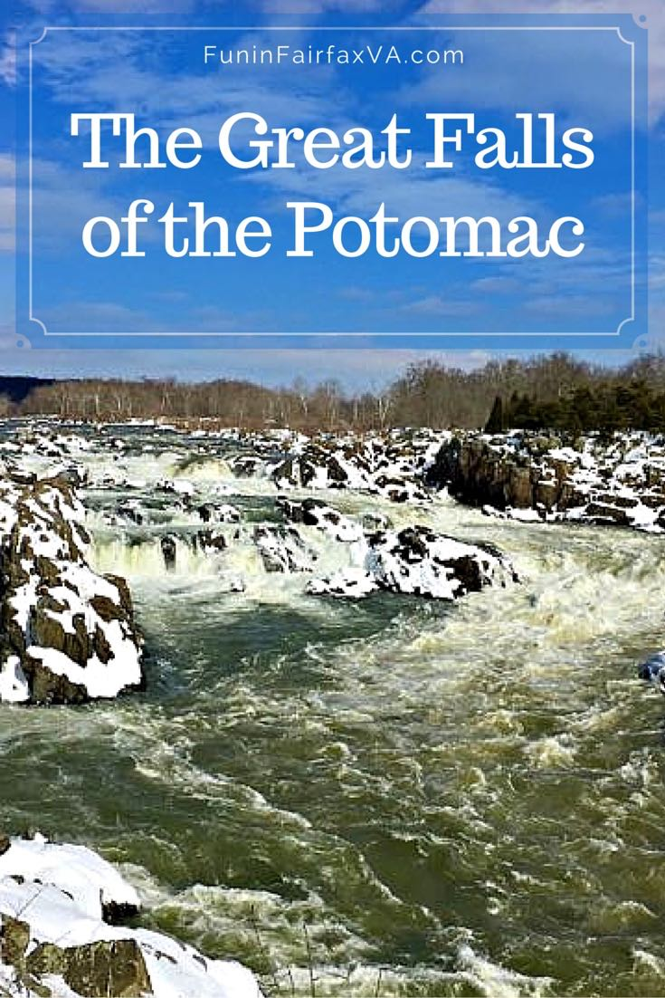 The Great Falls of the Potomac is both serene and turbulent after a snowstorm, as snowmelt raises water levels and a blanket of white covers rocks and trails.