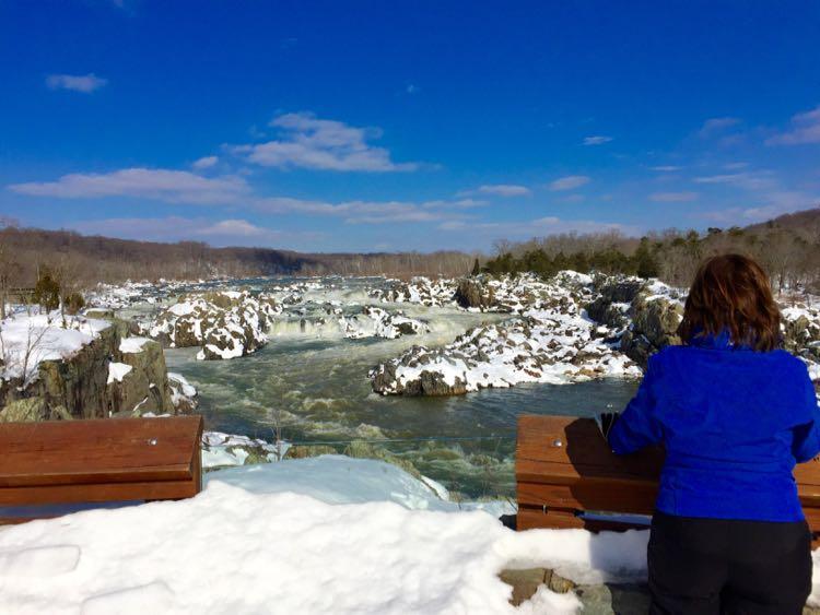 Great Falls overlook view in winter