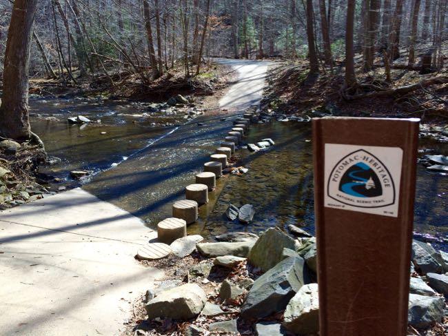 PHT stream crossing Scotts Run loop hike