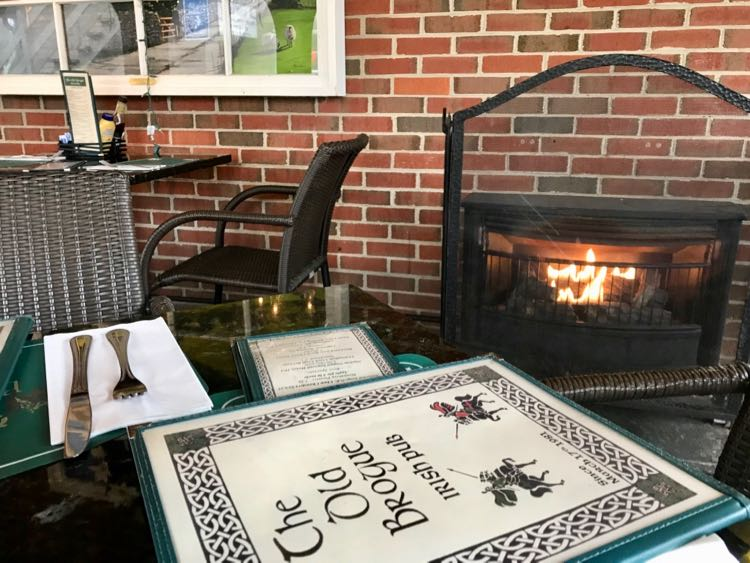 Patio fireplace at The Old Brogue in Great Falls VA