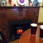 Pint bt the fireplace Hunters Head Tavern