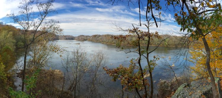 Potomac panorama Stubblefield Falls Overlook Scotts Run