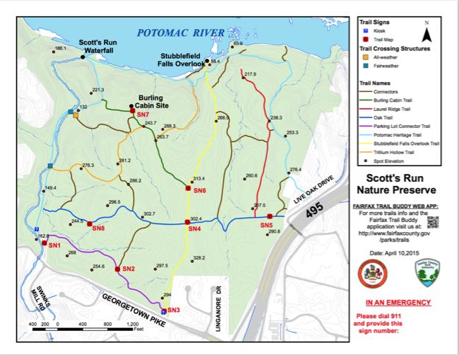 Scotts Run trail map, credit: Fairfax County Gov