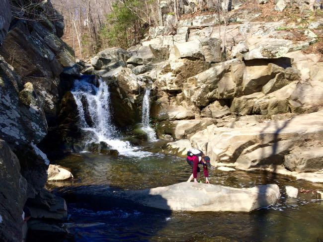 Crossing the stream at Scotts Run waterfall, one of our favorite summer hikes in Northern Virginia