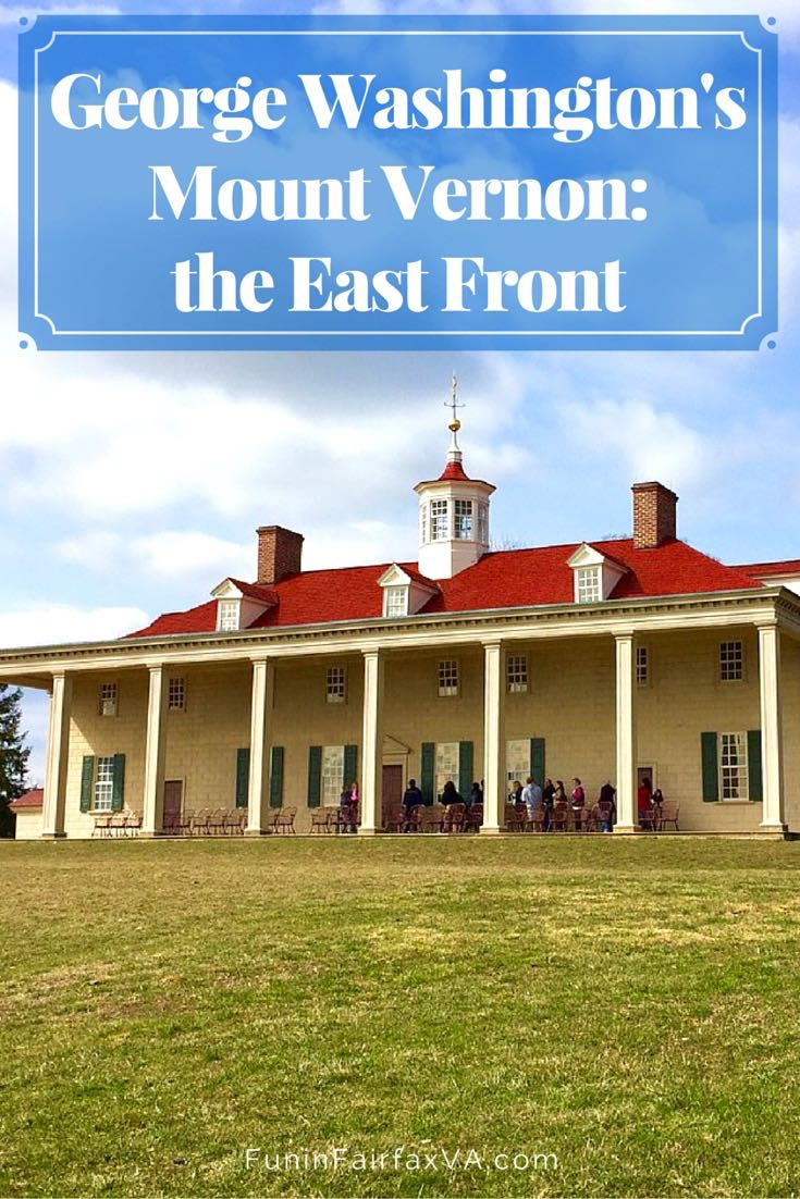 George Washington's Mount Vernon east front, with it's two story facade, columned piazza, iconic cupola, and expansive Potomac River view, Virginia.