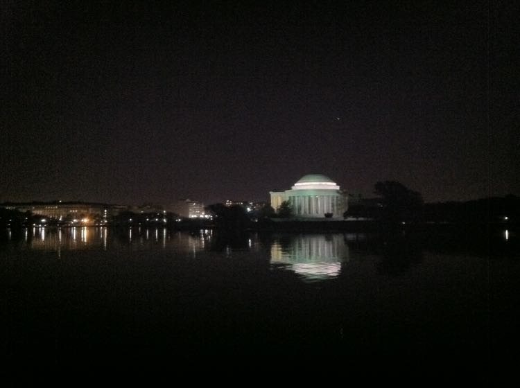 Tidal Basin and Jefferson Memorial at night DC