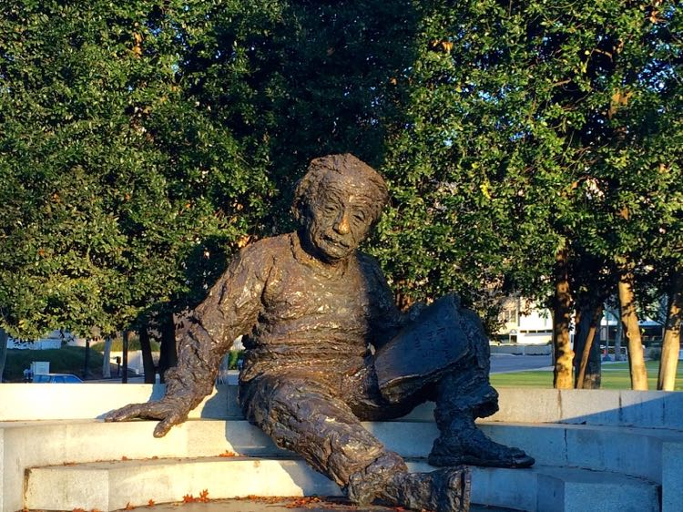 The Einstein Memorial in Washington DC is a fun spot for a Pi Day photo