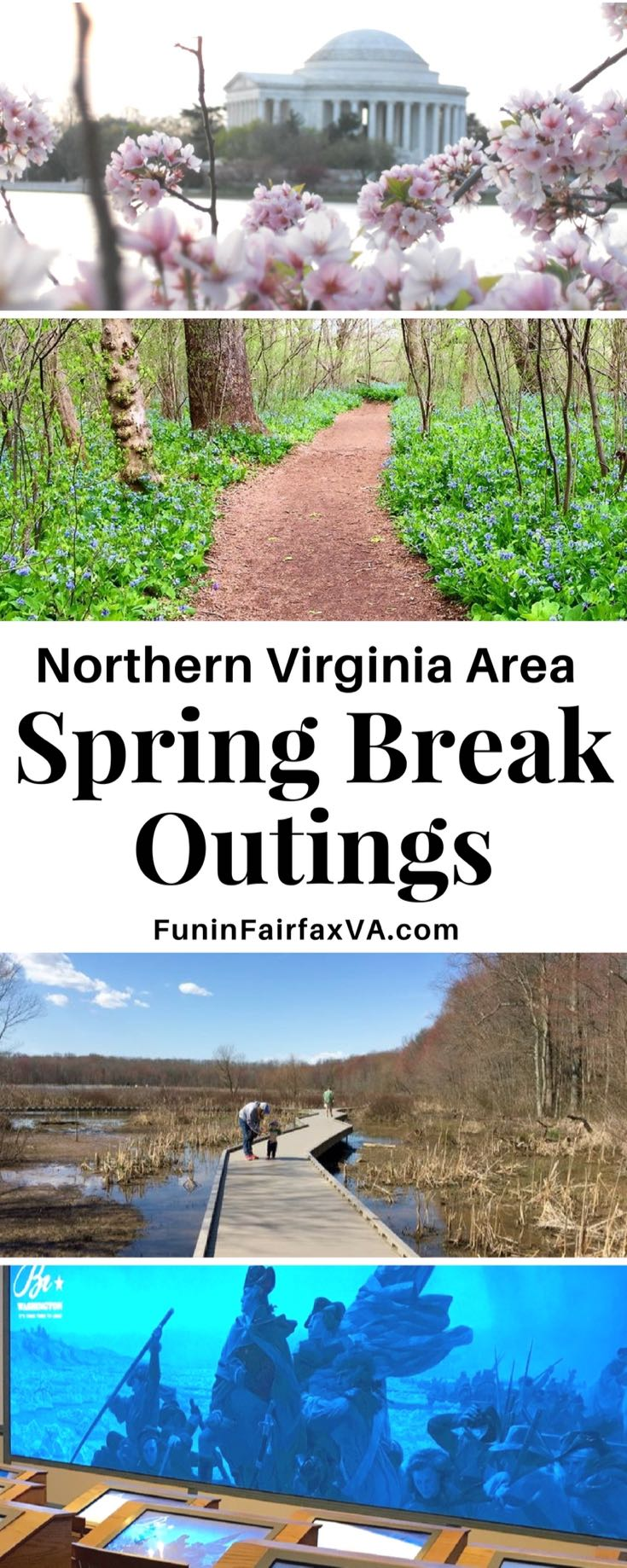 Virginia Washington DC travel. Here are five ideas for fun spring break outings that don't require reservations, tickets, or a lot of pre-planning, perfect for spring break or a no school day in the Northern Virginia area.