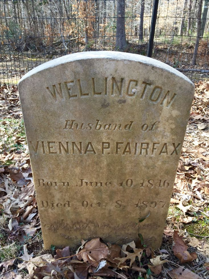 Wellington Fairfax grave marker Virginia