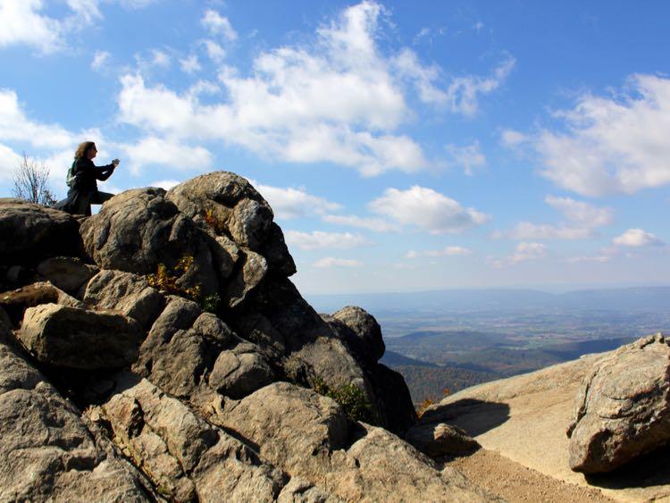 Rock scramble Mary's Rock hike Shenandoah